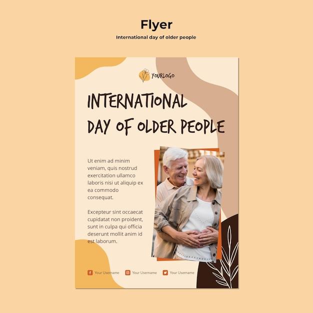 Modelo de pôster do dia internacional dos idosos Psd grátis