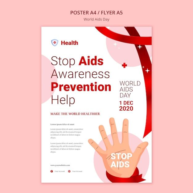 Modelo de pôster do dia mundial da aids Psd grátis