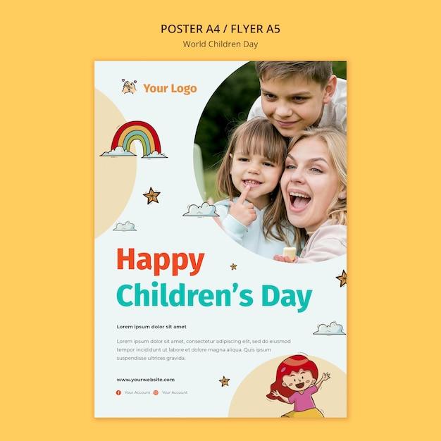 Modelo de pôster do dia mundial da criança Psd grátis