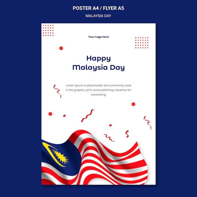 Modelo de pôster do feliz dia da malásia Psd grátis
