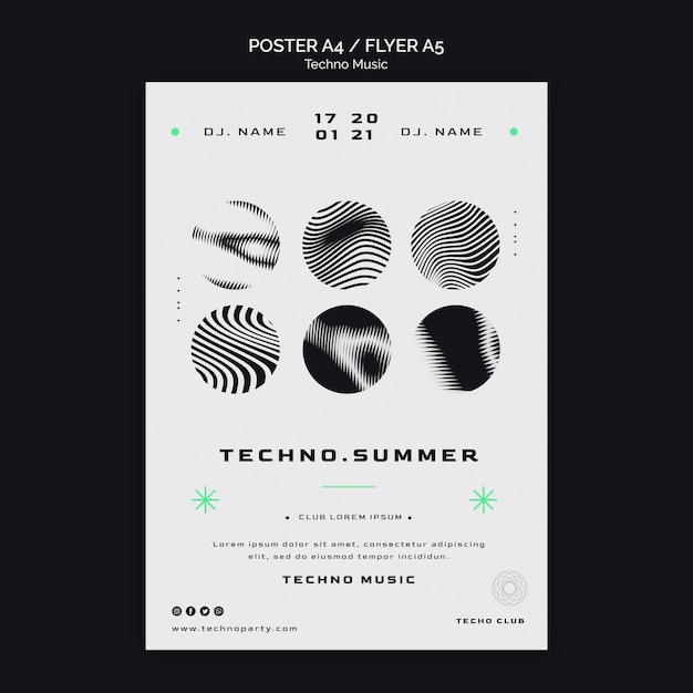 Modelo de pôster em preto e branco para o festival de música techno Psd Premium