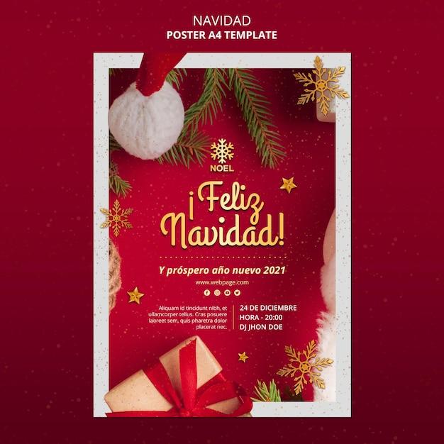Modelo de pôster feliz navidad com foto Psd grátis