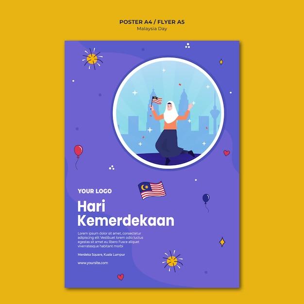 Modelo de pôster hari kemerdekaan da independência da malásia Psd grátis