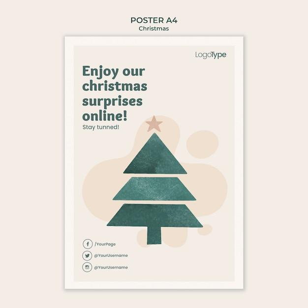 Modelo de pôster online de compras de natal Psd grátis