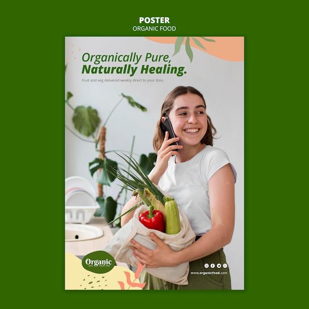 Modelo de pôster organicamente puro Psd Premium