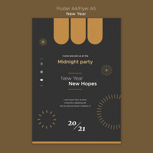 Modelo de pôster para festa da meia-noite de ano novo Psd grátis