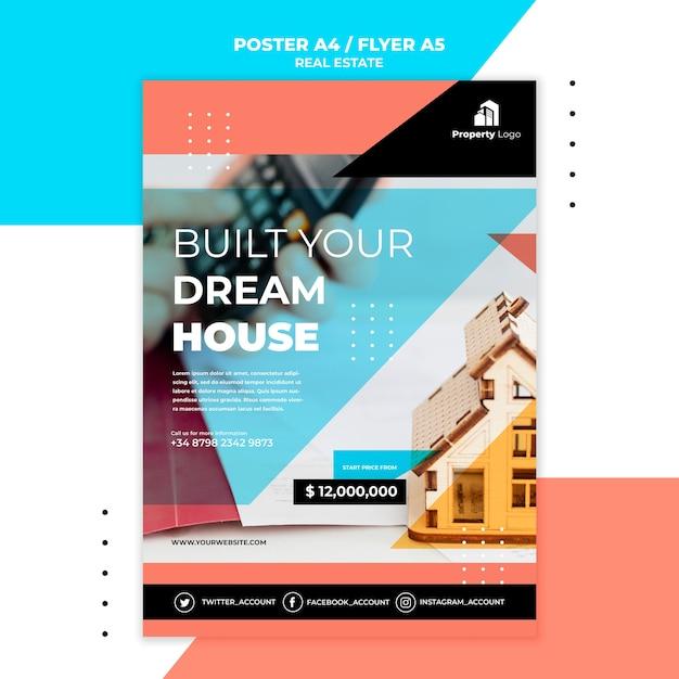 Modelo de pôster para imobiliária Psd grátis