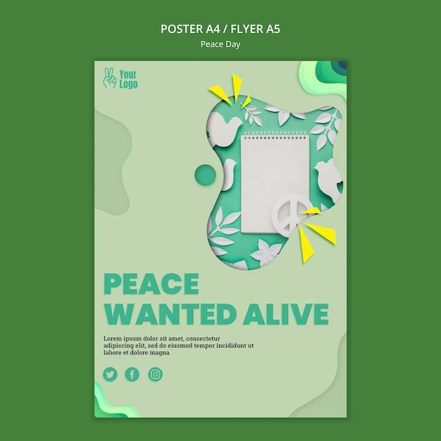 Modelo de pôster para o dia internacional da paz Psd grátis