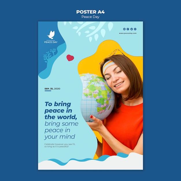 Modelo de pôster para o dia mundial da paz Psd grátis