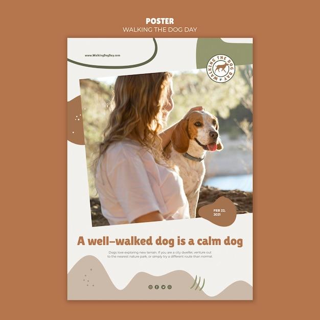 Modelo de pôster para passear com o cachorro Psd grátis