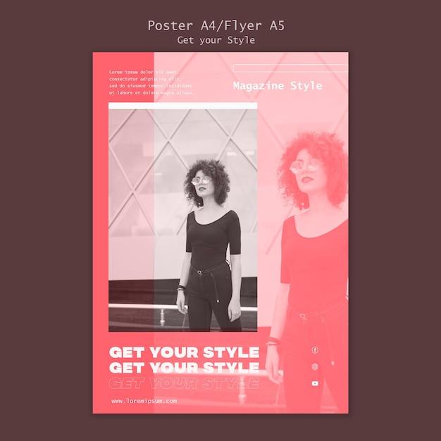 Modelo de pôster para revista de estilo eletrônico Psd grátis