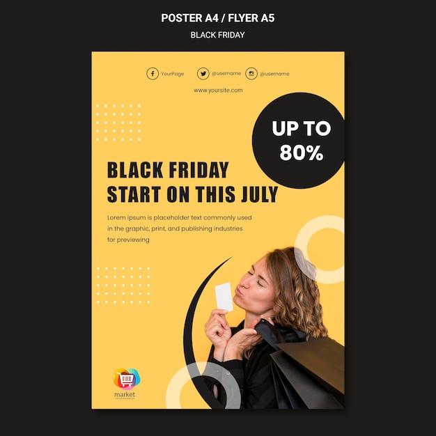 Modelo de pôster sexta-feira negra Psd grátis