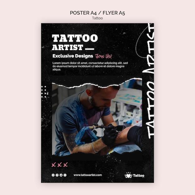 Modelo de pôster tatuador Psd grátis