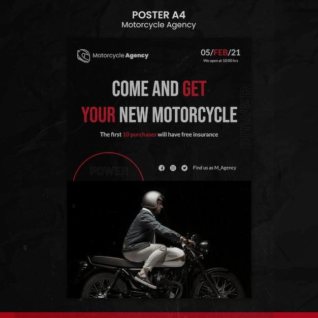 Modelo de pôster vertical para agência de motocicletas com piloto masculino Psd grátis