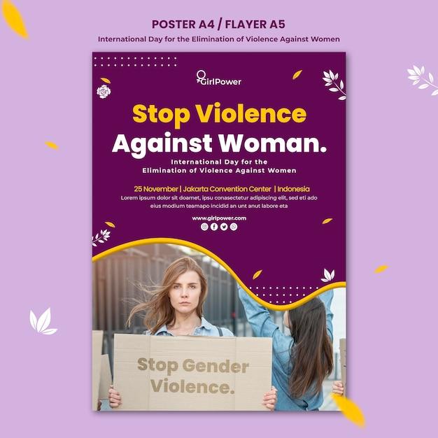 Modelo de pôster vertical para eliminação da violência contra as mulheres Psd grátis