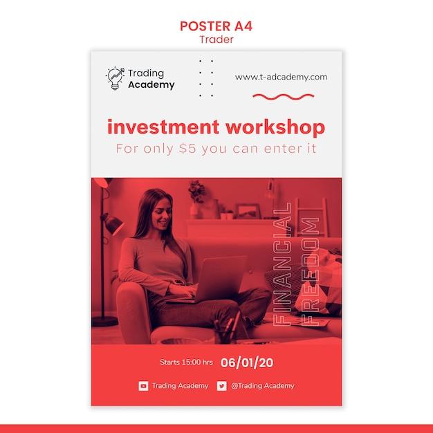 Modelo de pôster vertical para ocupação de trader de investimento Psd grátis
