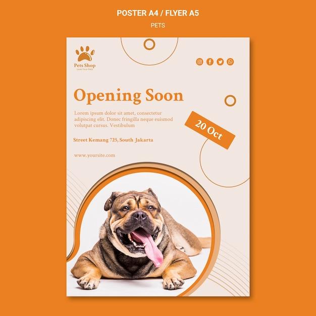Modelo de pôster vertical para pet shop com cachorro Psd grátis