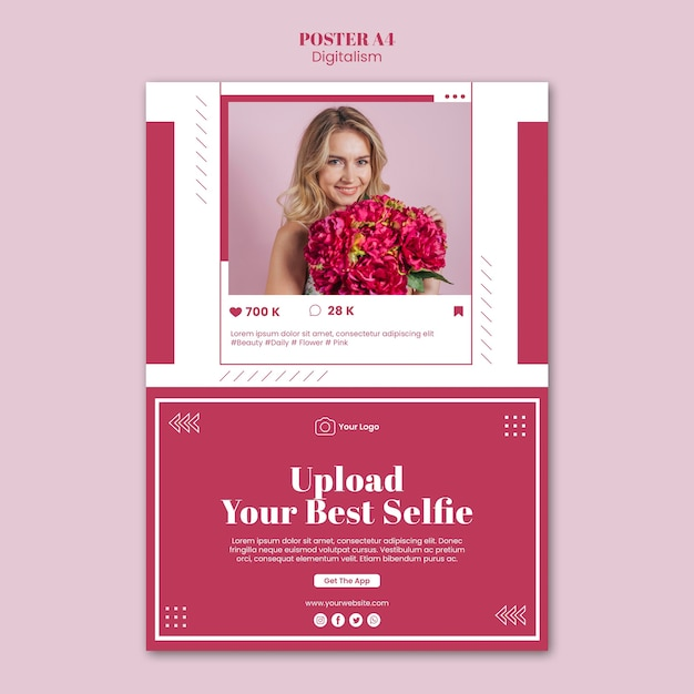 Modelo de pôster vertical para upload de fotos em mídias sociais Psd grátis