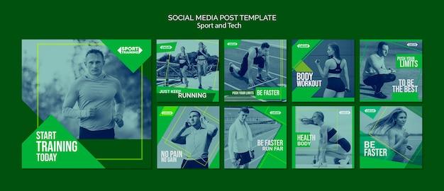 Modelo de posts do instagram de esporte e tecnologia Psd grátis