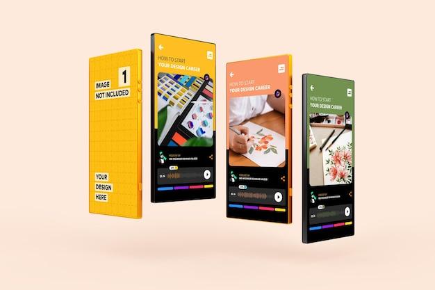 Modelo de promoção de tela de aplicativo para smartphone Psd Premium