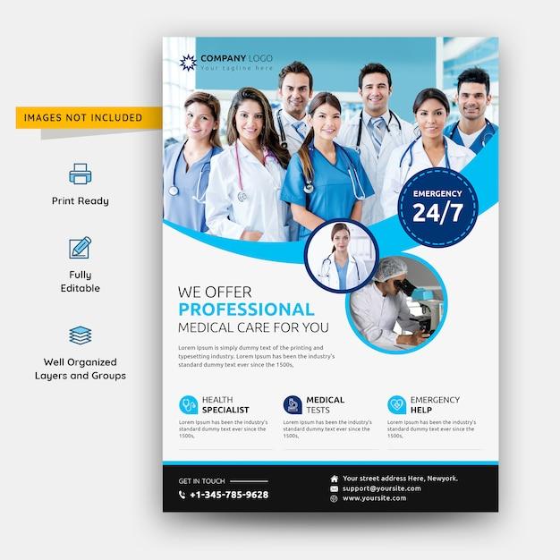 Modelo de psd de assistência médica e hospital flyer Psd Premium