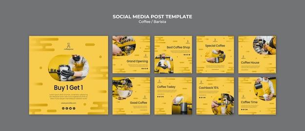 Modelo de publicação - café conceito mídias sociais Psd grátis