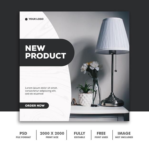 Modelo de publicação de mídia social instagram, decoração de móveis preto novo Psd Premium