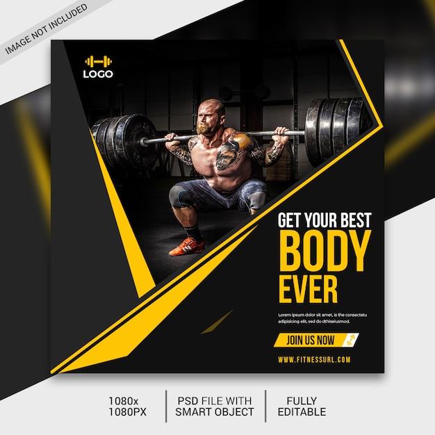 Modelo de publicação de mídias sociais de fitness, postagem no instagram Psd Premium