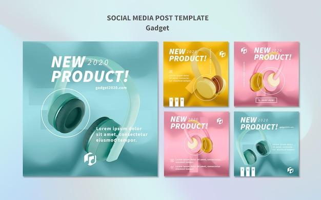 Modelo de publicação do gadget conceito de mídia social Psd Premium
