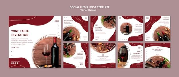Modelo de publicação - mídia social de gosto de vinho Psd grátis