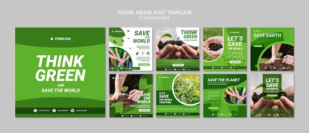 Modelo de publicação - pense em mídias sociais verdes Psd grátis