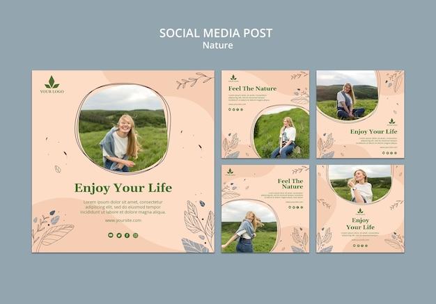 Modelo de publicação - sinta as mídias sociais da natureza Psd grátis