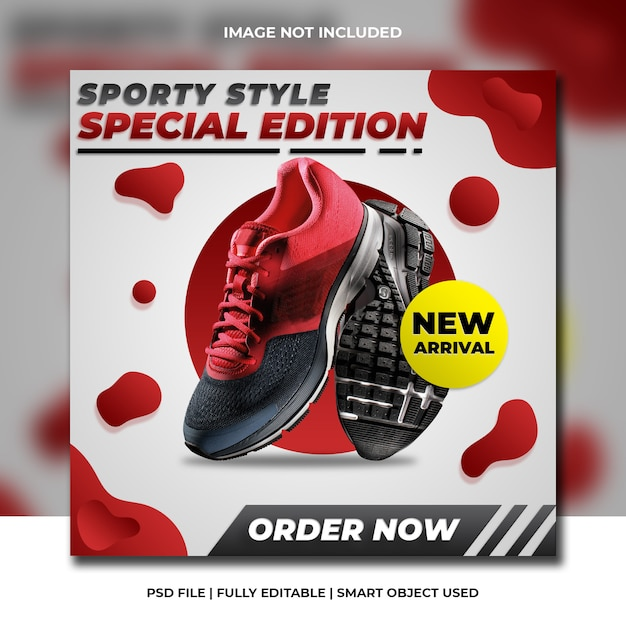 Modelo de quadrado vermelho de mídia social de produtos esportivos Psd Premium