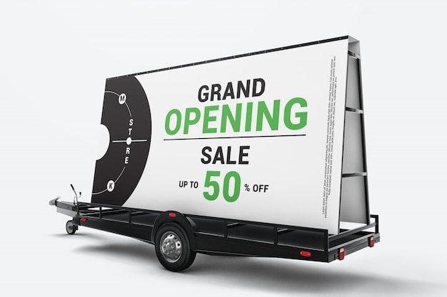 Modelo de reboque de outdoor móvel Psd Premium