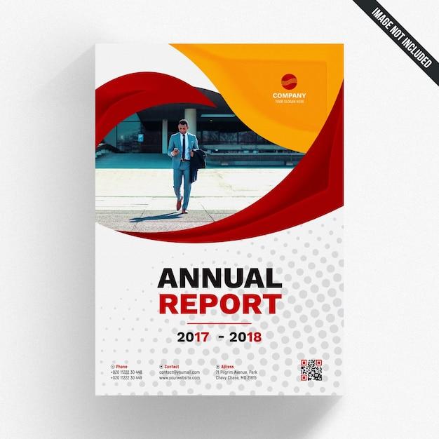 Modelo de relatório anual com formas onduladas vermelhas e amarelas Psd Premium