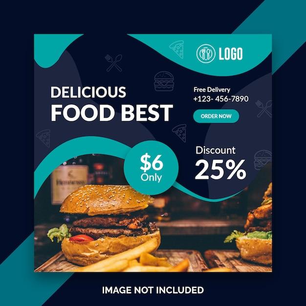 Modelo de restaurante de mídia social comida instagram post Psd Premium