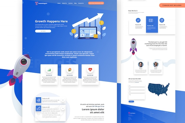 Modelo de site - crescimento acontece aqui Psd Premium