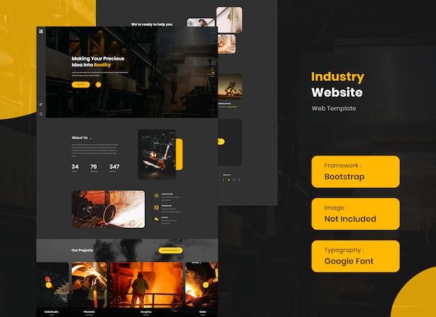 Modelo de site da indústria e aço no modo escuro Psd Premium