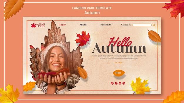 Modelo de site para landing page com boas-vindas temporada de outono Psd grátis
