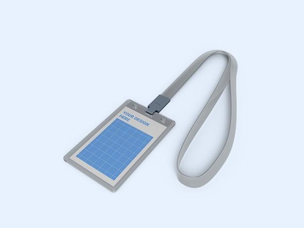 Modelo de suporte de cartão de identificação vertical transparente Psd Premium
