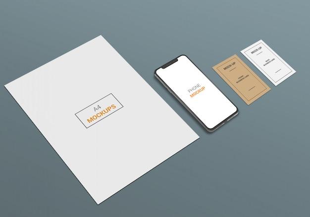 Modelo de telefone e cartão de visita a4 page Psd Premium