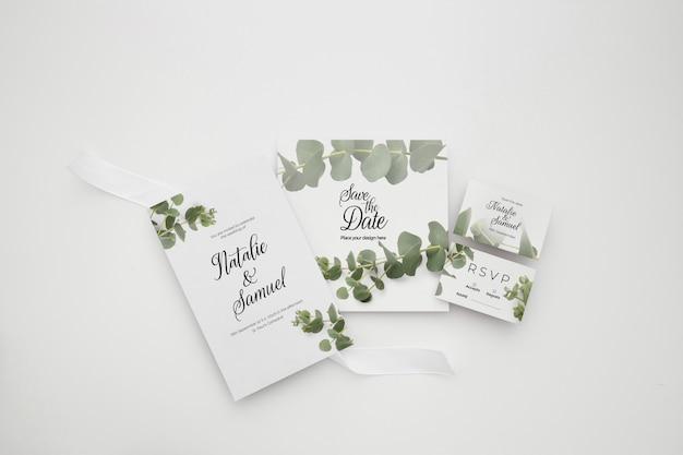 Modelo de tema elegante de convite de casamento Psd grátis