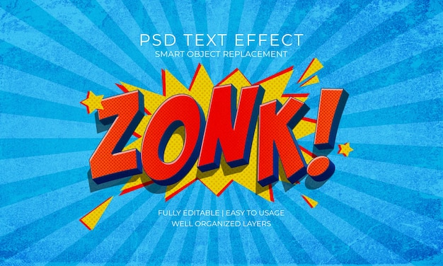 Modelo de texto de estilo de quadrinhos zonk Psd Premium