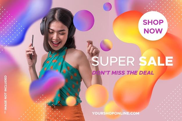 Modelo de venda de banner colorido Psd grátis