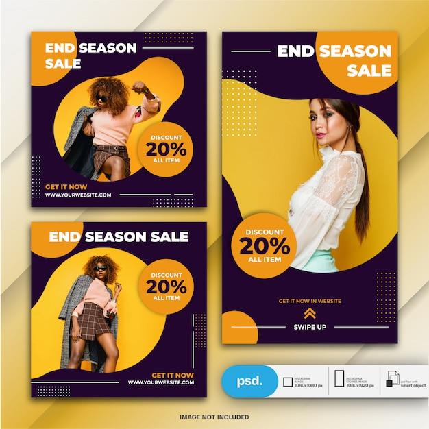 Modelo de venda - fastion do pacote de postagens e histórias do instagram Psd Premium