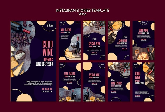 Modelo de vinho para histórias do instagram Psd grátis