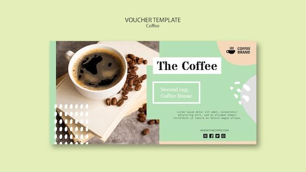 Modelo de voucher de café Psd grátis