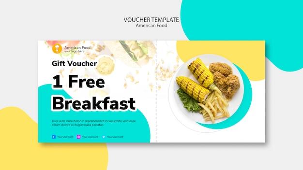 Modelo de voucher para café da manhã grátis Psd grátis