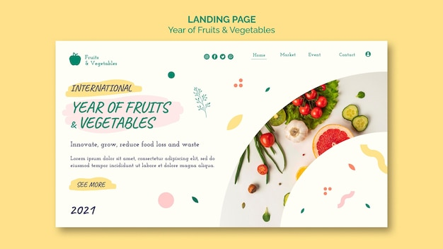 Modelo de web de ano de frutas e vegetais Psd Premium