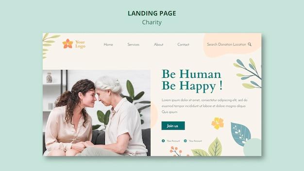 Modelo de web de página de destino de caridade Psd grátis